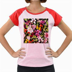 Beautiful,floral,hand painted, flowers,black,background,modern,trendy,girly,retro Women s Cap Sleeve T-Shirt