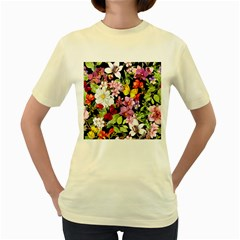 Beautiful,floral,hand painted, flowers,black,background,modern,trendy,girly,retro Women s Yellow T-Shirt