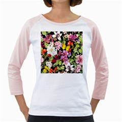 Beautiful,floral,hand painted, flowers,black,background,modern,trendy,girly,retro Girly Raglans