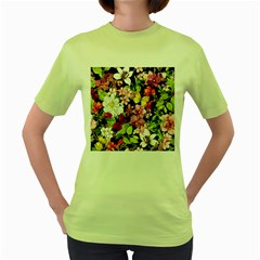 Beautiful,floral,hand painted, flowers,black,background,modern,trendy,girly,retro Women s Green T-Shirt