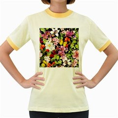 Beautiful,floral,hand painted, flowers,black,background,modern,trendy,girly,retro Women s Fitted Ringer T-Shirts