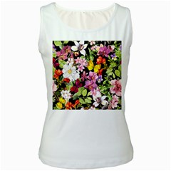 Beautiful,floral,hand painted, flowers,black,background,modern,trendy,girly,retro Women s White Tank Top