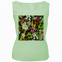 Beautiful,floral,hand painted, flowers,black,background,modern,trendy,girly,retro Women s Green Tank Top