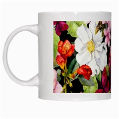 Beautiful,floral,hand painted, flowers,black,background,modern,trendy,girly,retro White Mugs