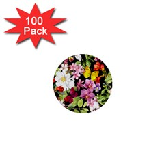 Beautiful,floral,hand Painted, Flowers,black,background,modern,trendy,girly,retro 1  Mini Buttons (100 Pack)  by 8fugoso