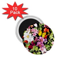 Beautiful,floral,hand painted, flowers,black,background,modern,trendy,girly,retro 1.75  Magnets (10 pack)
