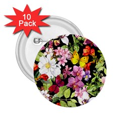 Beautiful,floral,hand painted, flowers,black,background,modern,trendy,girly,retro 2.25  Buttons (10 pack)