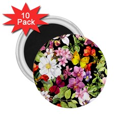 Beautiful,floral,hand painted, flowers,black,background,modern,trendy,girly,retro 2.25  Magnets (10 pack)