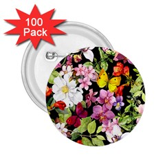 Beautiful,floral,hand painted, flowers,black,background,modern,trendy,girly,retro 2.25  Buttons (100 pack)