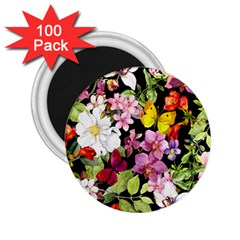 Beautiful,floral,hand painted, flowers,black,background,modern,trendy,girly,retro 2.25  Magnets (100 pack)