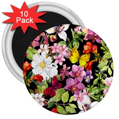 Beautiful,floral,hand painted, flowers,black,background,modern,trendy,girly,retro 3  Magnets (10 pack)
