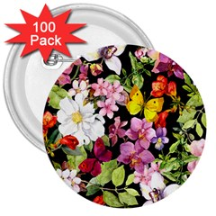 Beautiful,floral,hand painted, flowers,black,background,modern,trendy,girly,retro 3  Buttons (100 pack)