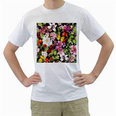 Beautiful,floral,hand painted, flowers,black,background,modern,trendy,girly,retro Men s T-Shirt (White) (Two Sided)