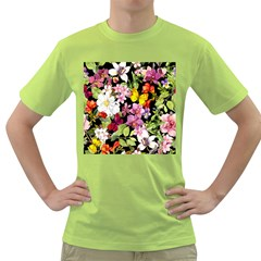 Beautiful,floral,hand painted, flowers,black,background,modern,trendy,girly,retro Green T-Shirt