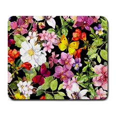 Beautiful,floral,hand painted, flowers,black,background,modern,trendy,girly,retro Large Mousepads