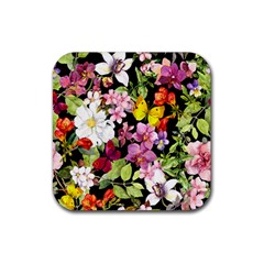 Beautiful,floral,hand painted, flowers,black,background,modern,trendy,girly,retro Rubber Coaster (Square)