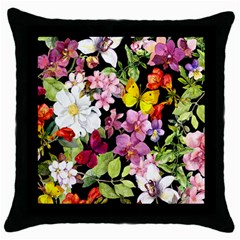 Beautiful,floral,hand painted, flowers,black,background,modern,trendy,girly,retro Throw Pillow Case (Black)