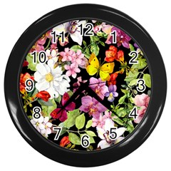 Beautiful,floral,hand painted, flowers,black,background,modern,trendy,girly,retro Wall Clocks (Black)