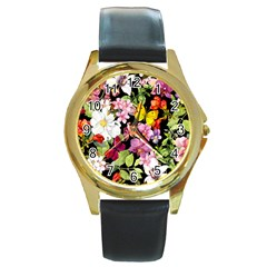 Beautiful,floral,hand painted, flowers,black,background,modern,trendy,girly,retro Round Gold Metal Watch
