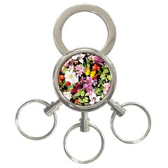 Beautiful,floral,hand painted, flowers,black,background,modern,trendy,girly,retro 3-Ring Key Chains