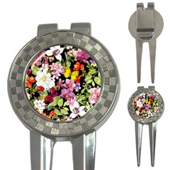 Beautiful,floral,hand painted, flowers,black,background,modern,trendy,girly,retro 3-in-1 Golf Divots