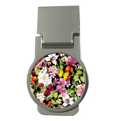 Beautiful,floral,hand painted, flowers,black,background,modern,trendy,girly,retro Money Clips (Round)