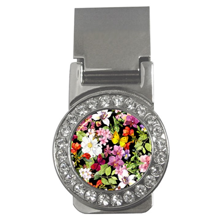 Beautiful,floral,hand painted, flowers,black,background,modern,trendy,girly,retro Money Clips (CZ)