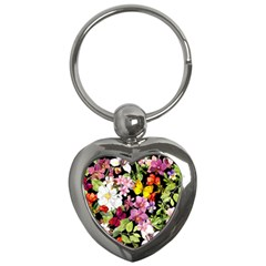 Beautiful,floral,hand painted, flowers,black,background,modern,trendy,girly,retro Key Chains (Heart)