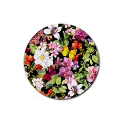 Beautiful,floral,hand painted, flowers,black,background,modern,trendy,girly,retro Rubber Round Coaster (4 pack)