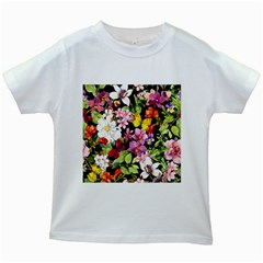 Beautiful,floral,hand painted, flowers,black,background,modern,trendy,girly,retro Kids White T-Shirts