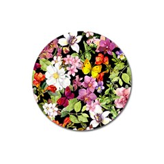 Beautiful,floral,hand painted, flowers,black,background,modern,trendy,girly,retro Magnet 3  (Round)