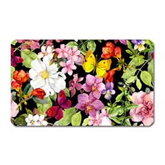 Beautiful,floral,hand painted, flowers,black,background,modern,trendy,girly,retro Magnet (Rectangular)