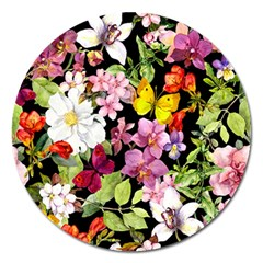 Beautiful,floral,hand painted, flowers,black,background,modern,trendy,girly,retro Magnet 5  (Round)