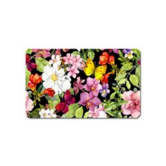 Beautiful,floral,hand painted, flowers,black,background,modern,trendy,girly,retro Magnet (Name Card)