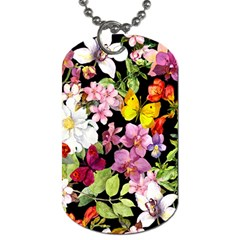 Beautiful,floral,hand painted, flowers,black,background,modern,trendy,girly,retro Dog Tag (One Side)