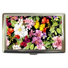 Beautiful,floral,hand painted, flowers,black,background,modern,trendy,girly,retro Cigarette Money Cases