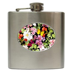 Beautiful,floral,hand painted, flowers,black,background,modern,trendy,girly,retro Hip Flask (6 oz)