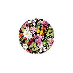Beautiful,floral,hand painted, flowers,black,background,modern,trendy,girly,retro Golf Ball Marker