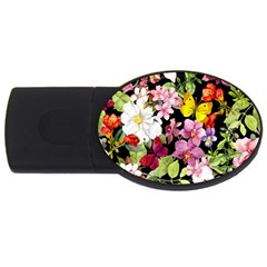 Beautiful,floral,hand painted, flowers,black,background,modern,trendy,girly,retro USB Flash Drive Oval (2 GB)
