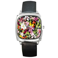 Beautiful,floral,hand painted, flowers,black,background,modern,trendy,girly,retro Square Metal Watch