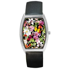 Beautiful,floral,hand painted, flowers,black,background,modern,trendy,girly,retro Barrel Style Metal Watch