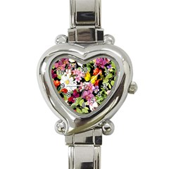 Beautiful,floral,hand painted, flowers,black,background,modern,trendy,girly,retro Heart Italian Charm Watch