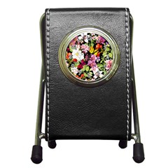 Beautiful,floral,hand painted, flowers,black,background,modern,trendy,girly,retro Pen Holder Desk Clocks
