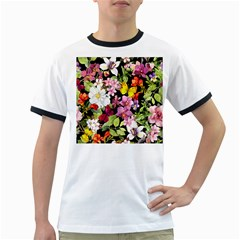 Beautiful,floral,hand painted, flowers,black,background,modern,trendy,girly,retro Ringer T-Shirts