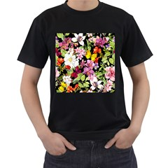 Beautiful,floral,hand painted, flowers,black,background,modern,trendy,girly,retro Men s T-Shirt (Black) (Two Sided)