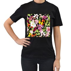 Beautiful,floral,hand painted, flowers,black,background,modern,trendy,girly,retro Women s T-Shirt (Black) (Two Sided)