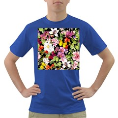 Beautiful,floral,hand painted, flowers,black,background,modern,trendy,girly,retro Dark T-Shirt