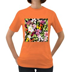Beautiful,floral,hand painted, flowers,black,background,modern,trendy,girly,retro Women s Dark T-Shirt