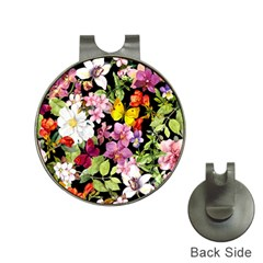 Beautiful,floral,hand painted, flowers,black,background,modern,trendy,girly,retro Hat Clips with Golf Markers