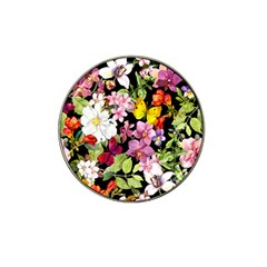 Beautiful,floral,hand painted, flowers,black,background,modern,trendy,girly,retro Hat Clip Ball Marker (4 pack)